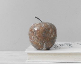 vintage solid marble apple paperweight with stem / office