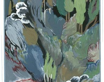 Original painting The Wolf and the Lamb-Gouache painting with frame La Fontaine The Wolf and the Lamb