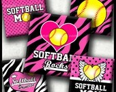 INSTANT DOWNLOAD Pink Softball Rocks Yellow Ball (768) 4x6 Digital Collage Sheet 1 inch square images for glass tiles cabochon images