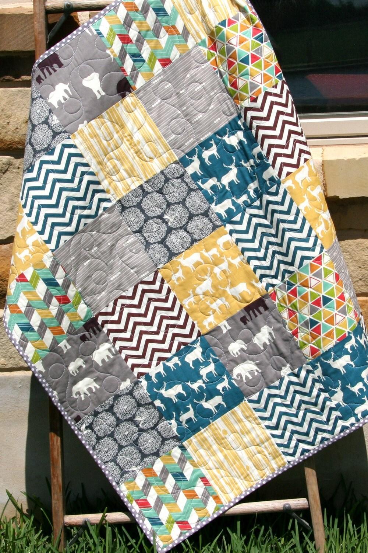 Baby Boy Cribs: Quilt Baby Boy Crib Bedding Blanket Grey Teal Blue Brown
