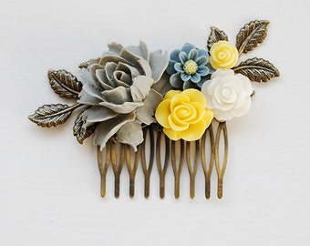 Grey and Yellow Flower Hair Comb Gray Yellow Ivory Rose Hair Comb, Grey and Yellow Wedding Bridal Hair Comb Wedding Headpiece French Country