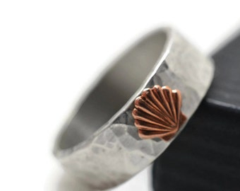 14K Rose Gold Shell Ring, Custom Engraved Sterling Silver Ring, Beach Wedding Band, Pink Gold Seashell Ring, 6mm Wide Wedding Ring