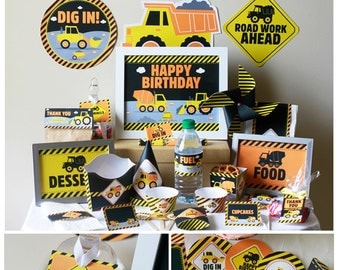 Construction Party Printable, Construction Birthday Decorations, Truck Birthday Party, Download, Dump Truck Party, Transportation Party
