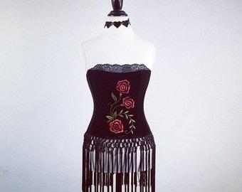 Vintage Embroidered Roses on Black Velvet Bustier Fringe Tassel Top // S - M