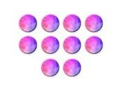 Glass Dome, Pastel Pink Violet Geometric Pattern, Round Glass Cabochon, Flatback Image Cabochon, 8mm 12mm 16mm 20mm, C1243