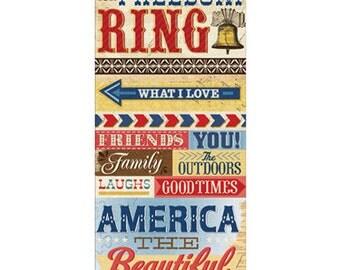 Americana Word Stickers USA theme