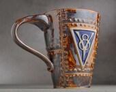 Sheet Metal Mug Ready To Ship V8 Rust and Chrome Sheet Metal Stoneware Mug by Symmetrical Pottery