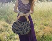 ALEX Rad 90's Vintage Purse  Purple Chevron Carpet Bag Wooden Handel Woven Boho Bag