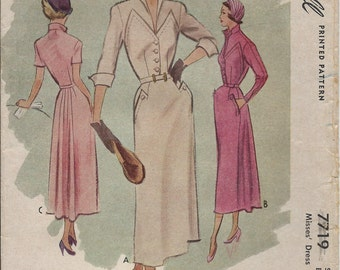 Vintage 1949 McCall Sewing Pattern 7719 Misses Dress Size 12