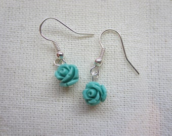Lil Blue Rose earrings featuring petite acrylic Roses in light blue. Inspired by Twin Peaks.