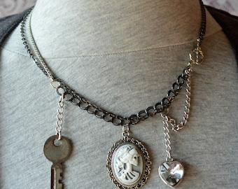 Glittering Crystal Skeleton Lolita Cameo Vintage Key Multi Chain Necklace