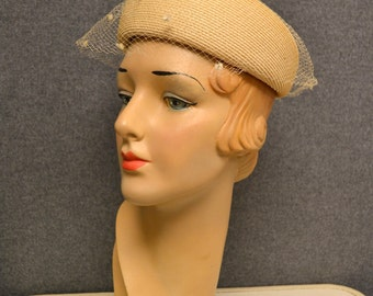 1950 Beige Straw Hat with Dotted Netting