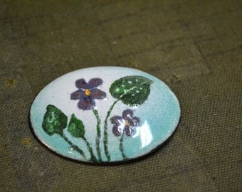1960s Enamel and Copper Violets Brooch