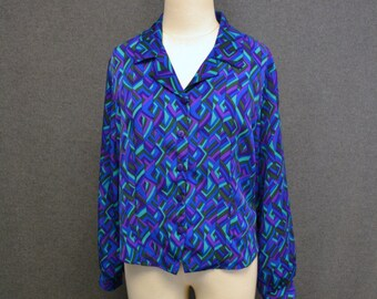 1980s Geometric Print Blouse