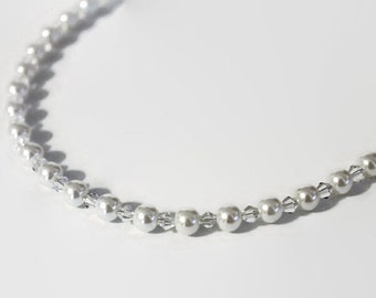 Pearl and crystal necklace- bridal necklace