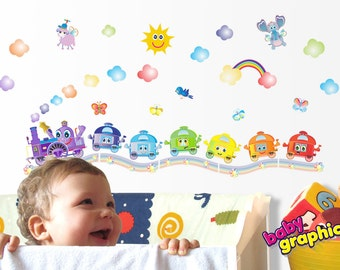rainbow train removable wall decals - locomotive with 6 carriages - babygraphics