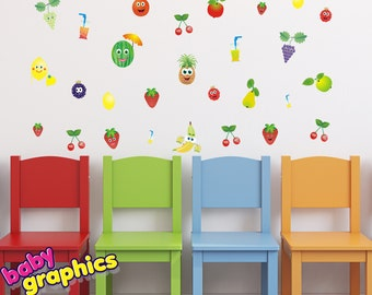 juice fruits children wall decals set - repositionable (by babygraphics)
