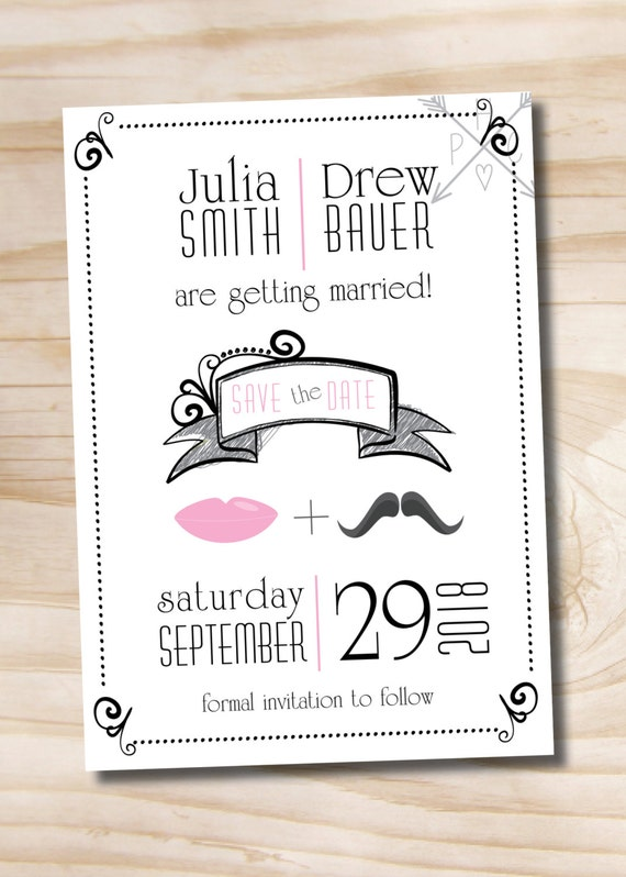 Lips and Mustache Save the Date, Wedding Engagement Announcement - Printable Invitation