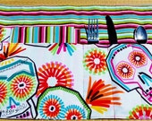 Sugar Skulls and Stripes Eco Friendly Roll Up Place Mat Set