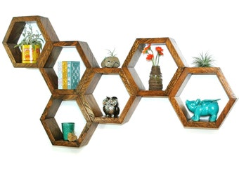 Reclaimed wood hexagon floating shelf - (ONE HEXAGON)