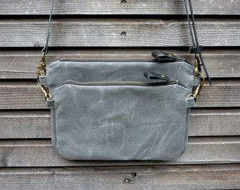 waxed canvas day bag/ small messenger bag/ kangaroo bag with vegetable tanned leather shoulderstrap