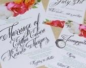 Flourishing Script with boquet Wedding Invitations. Trendy Type Invitations. Fancy lettering wedding invitations
