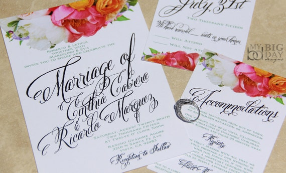 Flourishing Script with boquet Wedding Invitations. Trendy Type Invitations. Fancy lettering wedding invitations
