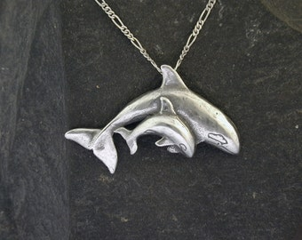 Sterling Silver Orca and Calf Pendant on a Sterling Silver Chain