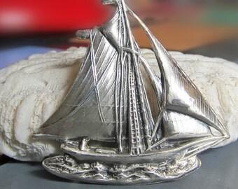 Sterling Silver Sailboat Pin Brooch