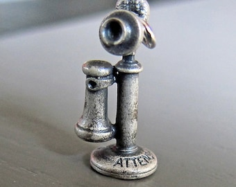 Antique LGB Sterling Silver Old Telephone Charm or Pendant Award
