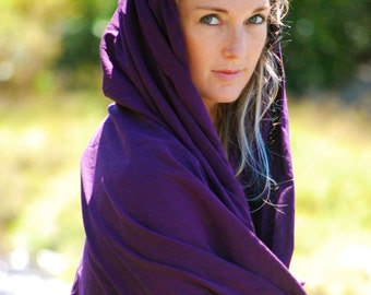 Wrap - Scarf - Light Organic Cotton Voile - Purple - Sarong - Shawl - Eco Friendly