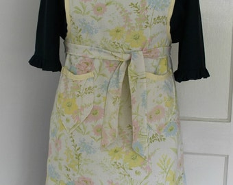 Sunny Yellow Vintage Floral Sheet Full Apron