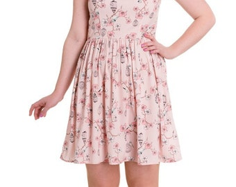 Vintage Style Kitsch Retro Pink Tweety Birdcage Print Mini Dress