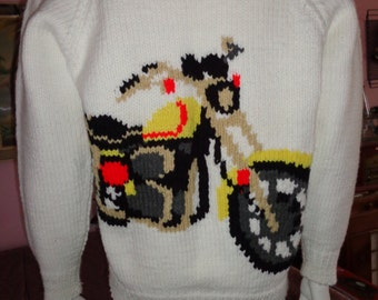 1960's MARY MaXIM MOTORCYCLE Men's Cardigan Cowichan Sweater CollegeNovelty Roll Collar Teen Heart-Throb Unisex  Rockabilly Hipster VlV