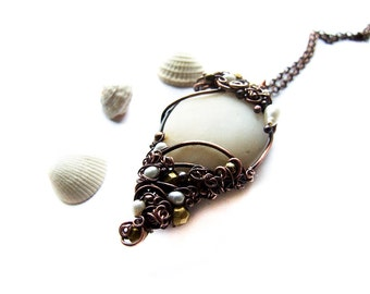 Ocean Treasure, Unique Wire Wrapped Sea Pebble Necklace, White Bold Nautical Necklace, Elvish Style Copper Jewelry