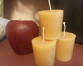 Three Pure Beeswax Votive Candles- Hot Apple Pie