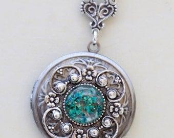 Real dried flowers bird silver locketJewelry Gift,Antique Locket,Silver Locket,Wedding Necklace
