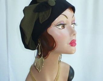 Black and Olive Cotton Jersey Beret, Chemo Hat