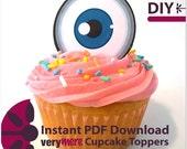 DIY Blue Eyed Cupcake Toppers Digital Download