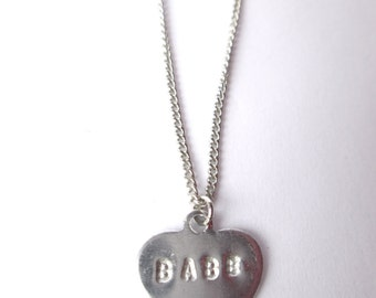 MINI 1.5 MM Stamped Heart Necklace