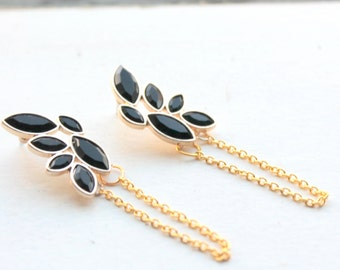 black delicate earrings