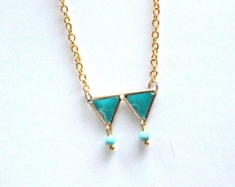 geometric turquoise dangle necklace