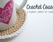 Instant Download - PATTERN for Simple Crochet Coasters: round, beginner double-crochet