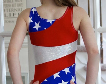 Red, White, and Blue All American Leotard 2t, 3t, 4t, 5t, 6, 7, 8, 9, 10, 11, 12, 13, 14