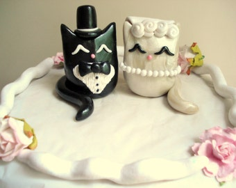Cat Wedding Cake Topper, Polymer Clay Kitty Cake Topper Customizable