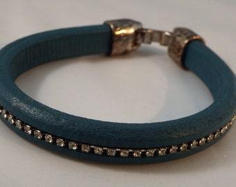 Genuine Leather Turquoise Rhinestone Bracelet