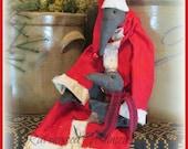 Primitive Santa Primitive Christmas Primitive Crow, Christmas crow