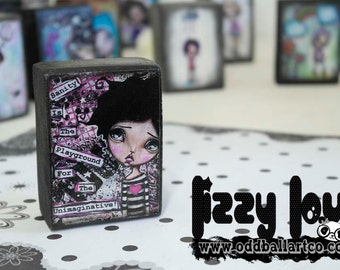 """Woodblock Fine Art Reproduction ACEO Big Eye Girl """"The Playground"""" by Lizzy Love"""