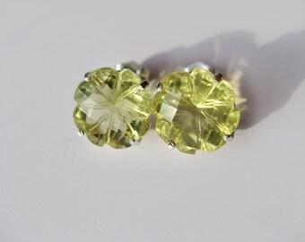 Lime Lemon Quartz Carved Flower Stud Earring In Sterling Silver.