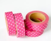 25% OFF SALE - 1 Roll of Hot Pink and White Polka Dot Washi Tape / Decorative Masking Tape (.60 inches x 33 feet)